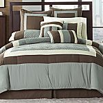 geometrical blue/brown bedding