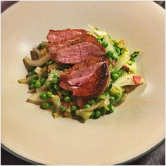 Pan-Seared Duck Breast with Braised Peas, Delicous Magazine, August 2013