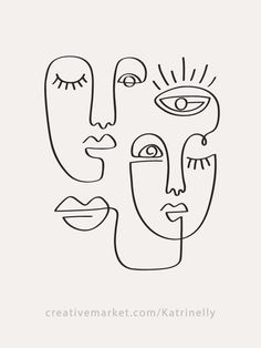 One Line Drawings Abstract Faces & Seamless Patterns. Fashion female portraits, trendy women faces shapes. Minimal elegant design. Primitive art. Linear vector faces set, single line drawings, feminine abstract illustrations, abstractions printable one line posters, wall art, branding, logo design. Textile print, wallpaper and fabric design. #drawing Portraits Illustrés, Pose Portrait, Fashion Portraits, Face Line Drawing, Single Line Drawing, Drawing Base, Shirt Drawing, Woman Drawing, Simple Face Drawing