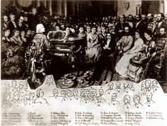 """Franz Liszt playing for Emperor Franz Josef  The original poster writes: """"Lily's great grandmother Elsan Dunkl (19), and great granduncle Janos Nepomuk Dunkl (7) (1832-1910) attending a concert with Ferenc (Franz) Liszt and Kaiser (Emperor) Franz Josef and the rest of the Austro-Hungarian Hapsburg court circa 1880's in Budapest, Hungary.  J.N. Dunkl was a European music publisher (partner in Rózsavölgyi) and he received lessons from Liszt during the winter 1839-40"""""""