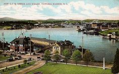 """""""New C.P.R. Office and Wharf, Victoria Harbour, B. C."""" Private Post Card. 742. Canadian Souvenir Cards. W. G. MacFarlane, Publisher Toronto. Printed in Germany. View looking NW from the British Columbia Legislature Building in Victoria, BC on Vancouver Island."""
