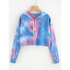 SheIn(sheinside) Tie Dye Drop Shoulder Crop Hoodie ($16) ❤ liked on Polyvore featuring tops, hoodies, multicolor, cropped hoodie, blue hoodies, tie-dye crop tops, long sleeve pullover and hooded sweatshirt