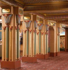 Watch Like an Egyptian | Vanity Fair-Lotus-decorated columns line the lobby of the Egyptian Theatre in Boise, Idaho.