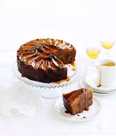 Australian Gourmet Traveller wine match recipe for ginger and pear cake with caramel and clotted cream.