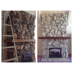 Interior Artistry Stone Fireplace Whitewash Paint