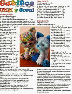 gatitos con patron!! Crochet Triangle Pattern, Crochet Doll Pattern, Crochet Patterns Amigurumi, Love Crochet, Crochet Baby, Knitted Animals, Stuffed Toys Patterns, Crochet Projects, Knitting