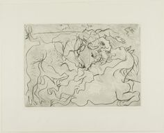 Picasso Bullfight. Wounded Female Bullfighter III, plate 71 from the Suite Vollard, November 8, 1933, printed and published 1939 Drypoint and etching with engraving on copper in black on off-white laid paper