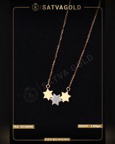 3 Sitara Chain Pendant is pure rose gold in 18K. The centre star has true gemstones encrusted, and side stars are of solid gold. This piece is versatile and suits all outfits. . . #satvagold #gold #puregold #kada #ring #rakhi #rakhshabandhan #giftforsister #bracelet #explore #18ct #18k #22k #rosegold #yellowgold #hallmark #hallmarkjewellery #celebration #sister #diamond #gems #beautiful #goldjewellery #jewellerydesign Gold Ornaments, Chain Pendants, Sister Gifts, Pendant Set, Wholesale Jewelry, Solid Gold, Gold Jewelry, Rose Gold, Rakhi