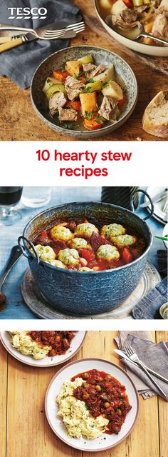 From a lamb tagine to a harissa chicken one-pot, make the most of the colder weather with our easy stew recipes. Find more stew recipes at Tesco Real Food. Hearty Stew Recipe, Easy Stew Recipes, Slow Cooker Recipes, Snack Recipes, Cooking Recipes, Beef Stew With Dumplings, Jack Food, Tesco Real Food, Recipe Today
