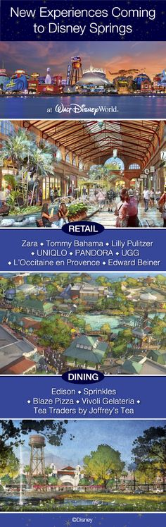 New retail and dining experiences are coming to Disney Springs at Walt Disney World Resort! 13 new high-profile tenants have been announced, including fashion retailers Zara, Tommy Bahama, Lilly Pulitzer and PANDORA. Here's a list of the 13 new experiences.