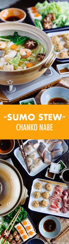 Chanko Nabe or Sumo Stew is a robust hot pot filled with all kinds of vegetables and tons of protein in a rich dashi and chicken broth.