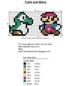 Sprite Cross Stitch Patterns | Yoshi and Mario Pattern for Bead Sprite, Needlepoint and Cross Stitch