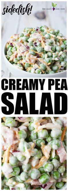 Pea Salad Recipe with Red Onions and Cheese {Video} Teaspoon of Goodness teaspoonofgood Side Dish Recipes Pea Salad Recipe Cookout Side Dishes, Side Dishes For Bbq, Summer Side Dishes, Best Side Dishes, Vegetable Side Dishes, Sides For Bbq, Best Bbq Sides, Camping Side Dishes, Easter Side Dishes