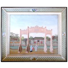 A Large China Trade Painting of the Exterior of a Merchant's Mansion | From a unique collection of antique and modern paintings at http://www.1stdibs.com/furniture/wall-decorations/paintings/