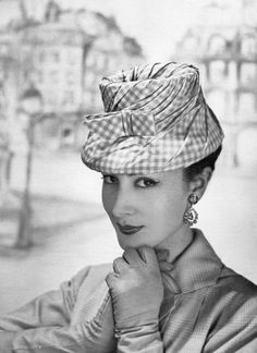Patricia is wearing a pink and white check taffeta hat by Legroux, photo by Georges Saad, 1956