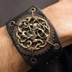 Bronze Vikings Symbol Balance of Powers 3D Amulet Leather Bracelet Talisman Pendant Necklace