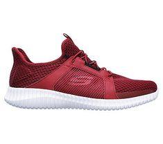 Skechers Men's Elite Flex Memory Foam Slip On Sneakers (Red/Black)
