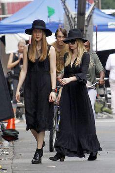 Taissa Farmiga And Emma Roberts on American Horror Story - loving this season's outfit!