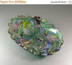 ON SALE NOW Murano Filigree Art Glass Bowl / AVeM Millefiore Ribbons Latticino Aventurine in Emerald Green