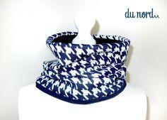 Snood en coton a carreaux, foulard pied de poule, écharpe bleu, tour de cou bleu fonce, foulard a carreux, Snood, : Echarpe, foulard, cravate par atelier-mademoiselle-k