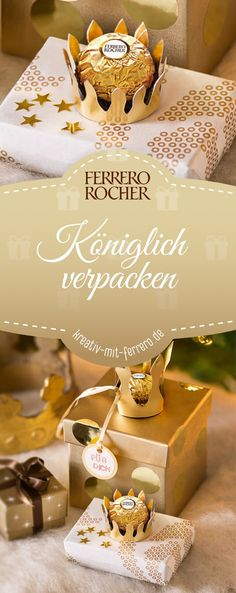 Königlich verpacken Royal packaging: Create magical gift packaging with Ferrero for your loved ones: golden little rolls for small and large gifts. Crafts For Teens To Make, Gifts For Teens, Diy For Teens, Diy Crafts To Sell, Easy Crafts, Birthday Party For Teens, Best Birthday Gifts, Thanksgiving Teacher Gifts, Music Crafts