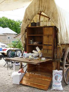"""""""Montana Chuck Wagon, these are still used regularly during cattle drives!"""" Note what's parked next to the wagon. Gypsy Caravan, Gypsy Wagon, Cattle Drive, Old Wagons, Chuck Box, Into The West, Covered Wagon, Chuck Wagon, Ranch Life"""