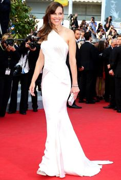 Hilary Swank in statement blue earrings and white Versace gown at 'The Homesman' Premiere during  Cannes Film Festival 2014 #Cannes2014