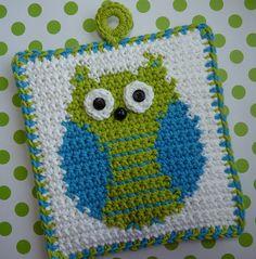 Crochet Owl potholder Make bigger (add more white background), make a pillow!