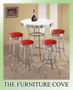 Amazon.com - 3pcs Retro Style Red & Chrome Bar Table & 2 Stools Set ...