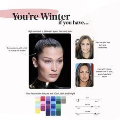Deep Winter Palette, Cool Winter Color Palette, Deep Winter Colors, Cool Skin Tone, Colors For Skin Tone, Skin Undertones, Winter Typ, Seasonal Color Analysis, Color Me Beautiful