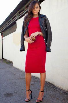 red dress + black leather jacket= perfetion!