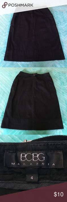 Black Pencil Skirt with Side Pockets Cute black pencil skirt with 2 side cargo pockets and a button/zipper closure - back strap to adjust waist slightly if needed - measures 22.5 inches from top to bottom BCBGMaxAzria Skirts Pencil