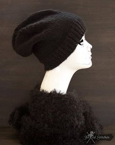 0d50190a2dc Items similar to Unisex slouchy knitted beanie hat black - Slouchy winter  knit hat acrylic rock alternative urban street style oversized handmade  gift on ...