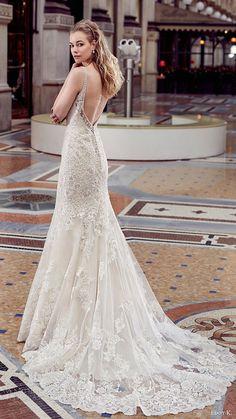 eddy k milano bridal 2017 sleeveless beaded straps vneck fit flare wedding dress (md203) bv low back train
