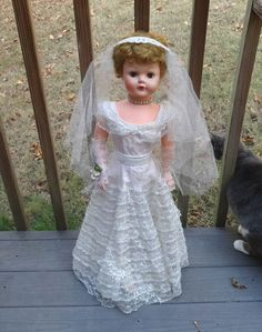 1950s Betty the Beautiful Bride with Box, Necklace, Tiara Veil, Dress, Shoes, Bouquet, 30 In., Soft Vinyl, Vintage Dolls, Vintage Toys, by VictorianWardrobe on Etsy