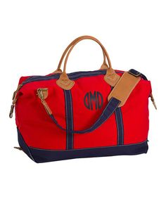 Weekender Satchel Duffel Canvas Bag Great for Overnight Travel-Red (Only 1 Left) Canvas Weekender Bag, Duffel Bag, Monogram Gifts, Monogram Canvas, Personalized Tote Bags, Leather Handle, Satchel, Purses, Red