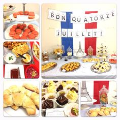 My Bastille Day Celebration!  French themed and filled with Macarons, Madelienes, petit fours, tarte au saumon, croissant, Croque Monsieur and ofcourse wine!