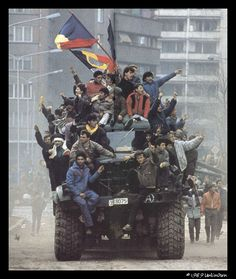 Romanian Revolution 1989 Protesters rejoice after taking control of a military vehicle in Bucharest. Romanian Revolution, Military Photos, Political Events, Historical Images, Interesting History, Soviet Union, World History, European History, Cold War