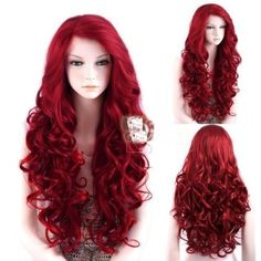 High Quality Lace Front Wig New Fashion Charm Women's Long Dark Red Curly Wigs  | eBay