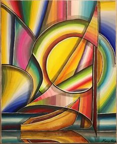 Painting by Maria Rom (Canada) Magical Paintings, Modern Art Paintings, Abstract City, Abstract Geometric Art, Michelangelo Paintings, Acrilic Paintings, Art Folder, Boat Painting, Painting Wallpaper