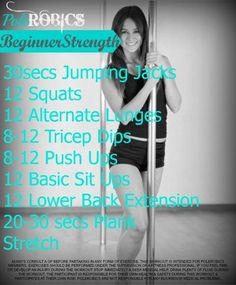 Polerobics Workout - a quick at home beginner strength workout, for those who would like to attend Polerobics/Pole Fitness/Pole Dancing Classes but feel that they are not strong enough (no equipment required) www.facebook.com/polerobics