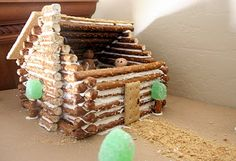 """Log Cabin diorama out of pretzels. This was for """"The Sign of the Beaver"""" book report."""