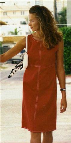 Выкройка льняное платье без руковов. Размеры: 44(46-48: 50-52); длина по спинке - примерно 99 см