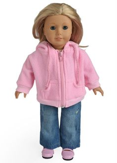 """Doll Clothes fits 18"""" American Girl Doll Pink Sweater and Jeans"""