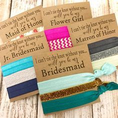 NEW Styled Will you be my...Bridesmaid | Maid of Honor | Matron of Honor | Jr. Bridesmaid | Flower Girls | Personal Attendant | Custom titles welcome. Bridal Party Favors