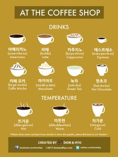 Korean Language 324751823125507926 - Here are some useful Korean words for when you are at the coffee shop. Notice that most of the vocabulary are just Konglish versions of their name in English so the only thing you have to worry abo… Source by MAIMAKS Learn Basic Korean, How To Speak Korean, Korean Slang, Korean Phrases, Korean Quotes, Korean Words Learning, Japanese Language Learning, Easy Korean Words, Learn Korean Alphabet