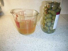 Make your own olive brine for martinis...if you are like me, you currently have 6 bottles of olives with no juice in the fridge...
