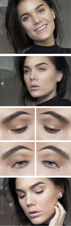 "Linda Hallberg makeup look - ""Copperthorn"" - simple shimmery copper eyeshadow and nude pink lips. So pretty and natural and understated, perfect for fall-time."