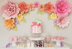 Earlier this morning I threw (a very pink) My Little Pony themed morning tea for my niece Emmy. I'll be sharing all of the details from the party very soon. In the meantime I've been getting lots of questions about the paper flower background, so I thought I'd share