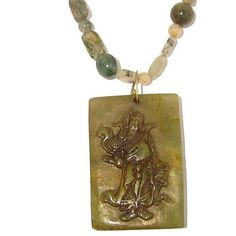 Jade Necklace 03 Beaded Yellow Guan Gong Chinese General Moss Agate Green Stone 23  Price : $85.00 http://www.idigcrystals.com/Necklace-Beaded-Yellow-Chinese-General/dp/B007M4FTQ2
